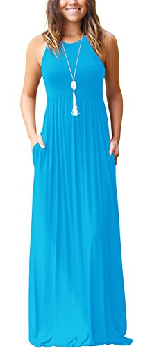 GRECERELLE Women's Sleeveless Racerback Loose Plain Maxi Dresses Casual
