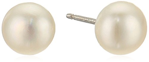 Sterling Silver White Freshwater Cultured-Pearl button Stud Earrings