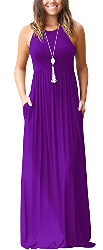 GRECERELLE Women's Round Neck Sleeveless A-line Casual Maxi Dresses