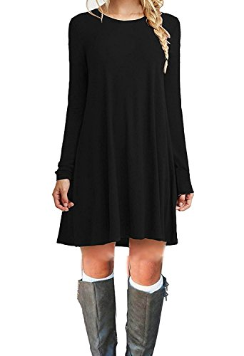 Women's Long Sleeve Casual Loose T-Shirt Dress Black XL