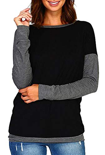 onlypuff Women's Black Color Block Tunic Tops Casual Long