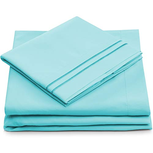 Split King Bed Sheets - Pastel Blue Luxury Sheet