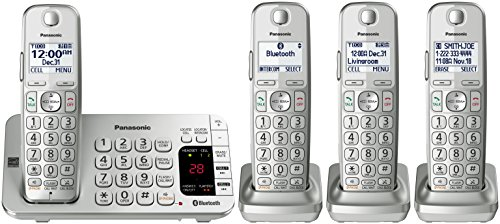 Panasonic KX-TGE474S Link2Cell Bluetooth Cordless Phone with Answering Machine-