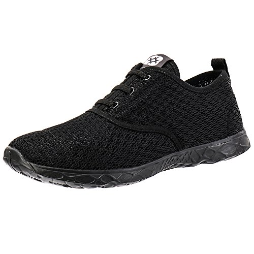 ALEADER Men's Stylish Quick Drying Water Shoes All Black