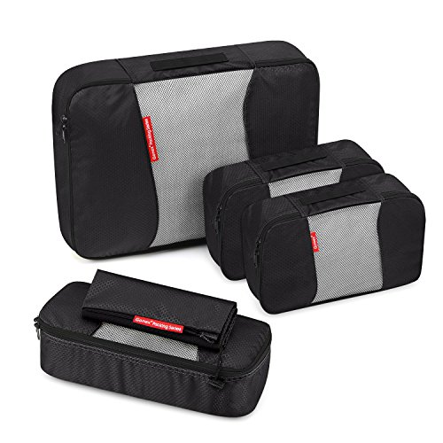 Travel Packing Cubes, Gonex Luggage Organizers L+M+2Slim+Laundry Bag Black