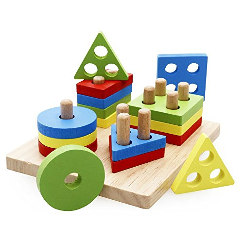 rolimate Wooden Educational Preschool Shape Color Recognition Geometric Board