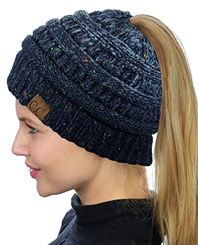 C.C BeanieTail Soft Stretch Cable Knit Messy High Bun