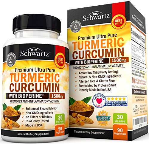 Turmeric Curcumin with Bioperine 1500mg. Highest Potency Available. Premium